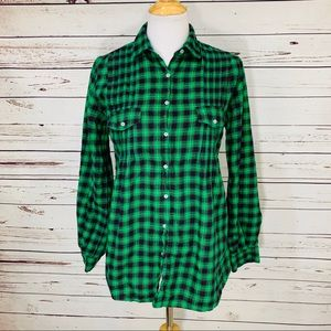 {SUNDANCE} Green & Red Plaid Tunic Flannel